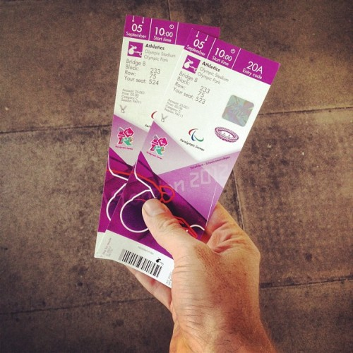 Just got given 2 paralympics athletics tickets! Off to watch @davidweir2012 - nice!! (Taken with Instagram)