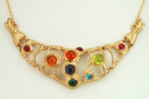 """Dragon"" Necklace These bright and beautiful gemstones inspired me to create something fun with a hint of danger- I love how empowering and unique this piece is. It's my personal favorite! 14K yellow gold, iolite, spessartites, peridot, blue topaz, green and pink tourmalines. Feel free to inquire about price via email - Ana@AnastasiaSavenko.com"