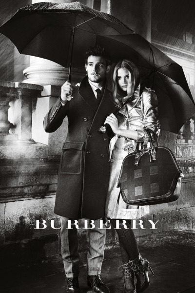 'Under Cover': The latest Burberry A/W12 campaign starring Gabriella Wilde and Roo Panes taking shelter from the rain.