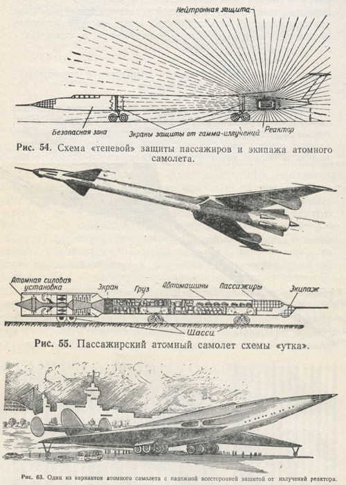 "from ""Nuclear-powered aircraft"" (""Применение атомных двигателей в авиации""), published in 1957, by G. Nesterenko, A. Sobolev, and Yu. Sushkov.  Fig. 54: ""Shadowing"" for protection of passengers and crew. Fig. 55: Passenger nuclear aircraft (""duck""-type) Fig. 63: A variant of nuclear aircraft with reliable and complete radiation protection . (Kindly submitted by Mr Alexey Mahotkin - immense thanks.)"