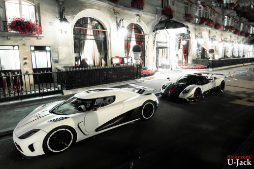 Ladies of the night Starring: Koenigsegg Agera R and Pagani Zonda Cinque (by U-Jack)