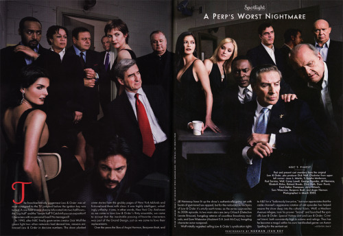 "The entire cast of ""Law & Order"", past and present, as of March 2003 (Jerry Orbach passed away about a year later) photographed for Vanity Fair magazine by Norman Jean Roy.  The only missing cast member was ""Ben Stone"", Michael Moriarity."