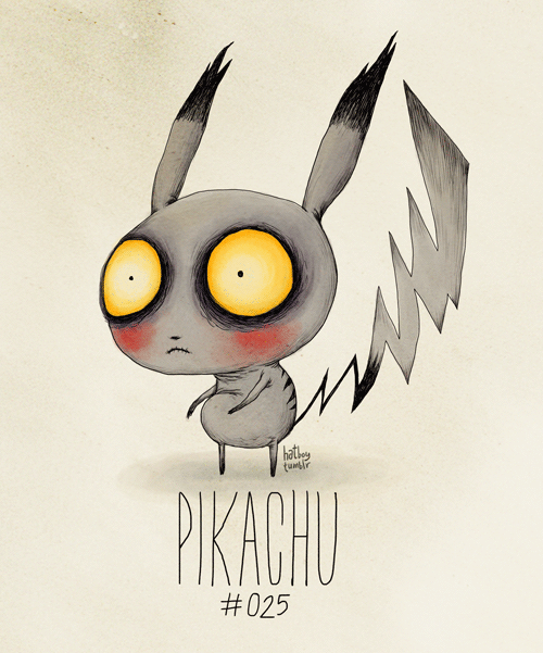 hatboy:  Pikachu #025 Ash's faithful Pokeman.   (Tim Burton Inspired Re-Design)  Pikachu looks traumatized.