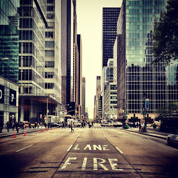 LANE FIRE. Crossing the #road in #Chicago, #illinois. #streetphotography #xproii #snapseed #cameraplus #chi #chitown #street #fire #lane #iphonesia #iphoneonly #iphoneography #photooftheday #statigram  (Taken with Instagram at Bryant Park)