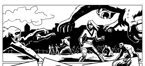 panel from Machine dancer #1 p15. Our heroine getting into fight with zombie chimpanzees in Krakow. written by yours truly art by talented Katja Louhio. She can really draw her kicking ass. Any ass.