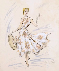 theniftyfifties:  Costume sketch by Edith Head for Grace Kelly in 'Rear Window', 1954.