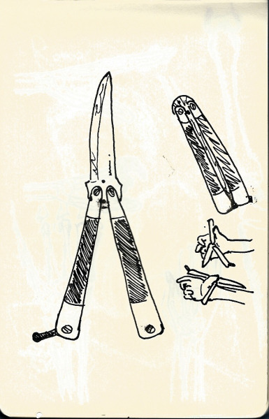 yourgenericblog:  Butterfly Knife Black Pen on Moleskin