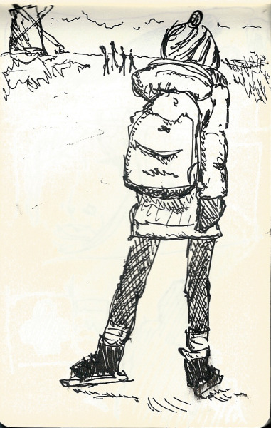 yourgenericblog:  Skating Girl Black Pen on Moleskin Inspired by http://i.imgur.com/u60HA.jpg