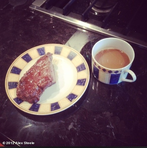 Steak and coffee for breakfast :D yummmmyyyyView more Alex Steele on WhoSay