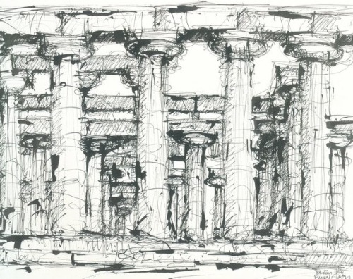 drawingdetail:  Micheal Graves, Temples of Juno and Neptune, Paestum, 1961.