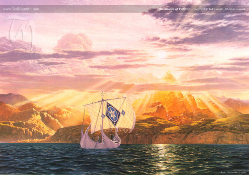 "stoneofthehapless:  The Shores of Valinor; art by Ted Nasmith  Yet Eärendil saw now no hope left in the lands of Middle-earth, and he turned again in despair and came not home, but sought back once more to Valinor with Elwing at his side. He stood now most often at the prow of Vingilot, and the Silmaril was bound upon his brow; and ever its light grew greater as they drew into the West. And the wise have said that it was by reason of the power of that holy jewel that they came in time to waters that no vessels save those of the Teleri had known; and they came to the Enchanted Isles and escaped their enchantment; and they came into the Shadowy Seas and passed their shadows, and they looked upon Tol Eressëa the Lonely Isle, but tarried not; and at the last they cast anchor in the Bay of Eldamar, and the Teleri saw the coming of that ship out of the East and they were amazed, gazing from afar upon the light of the Silmaril, and it was very great. Then Eärendil, first of living Men, landed on the immortal shores; and he spoke there to Elwing and to those that were with him, and they were three mariners who had sailed all the seas besides him: Falathar, Erellont, and Aerandir were their names. And Eärendil said to them: 'Here none but myself shall set foot, lest you fall under the wrath of the Valar. But that peril I will take on myself alone, for the sake of the Two Kindreds.'  — J.R.R. Tolkien, The Silmarillion, ""Of the Voyage of Eärendil and the War of Wrath"""
