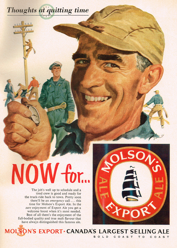 beerketing:  Vintage Ad #2,010: At Quitting Time, All He Wants is a Molson Export (by jbcurio)
