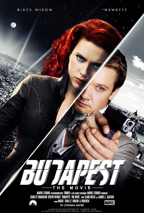 'BUDAPEST' Fan-Art Prequel Poster —  Black Widow and Hawkeye's back-story mentioned in 'The Avengers.'  I'd see that.