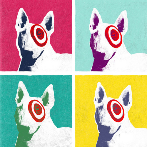 Bullseye Dogs Illustration for a press article releasing the introduction of Andy Warhol tomato soup cans to be sold in Target stores. Published in A Bullseye View. —- Illustration by David Schwen Follow: Twitter / Facebook / Tumblr / Behance
