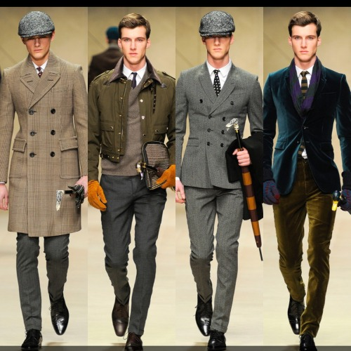 The return of the gentleman. Classic British fashion meets 21st century style. Modern-day Sherlock, for sure. Burberry Prorsum, menswear Fall 2012.