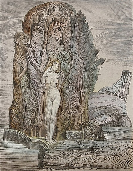 venusmilk:  Ernst FuchsStanding Female Nude with mask on the Island of Death.