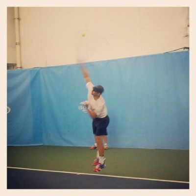 Roddick via usopentennis:  #AndyRoddick practices at the Amex fan experience before he continues his match against #DelPotro. (Taken with Instagram)