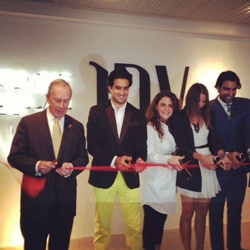 "businessoffashion:  Major Bloomberg at ribbon cutting to announce the winners of Project PopUp. ""New York is fashion central,"" not Paris. (Taken with Instagram)"