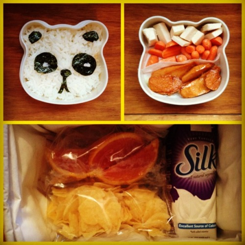 Kawaii vegan bento lunch for first day of school! Vanilla soymilk, rice & seaweed panda with vegan cheese eyes, sautéed veggie dogs, baby carrots, vegan mozzarella cheese chunks and classic potato chips & orange slices for snack!