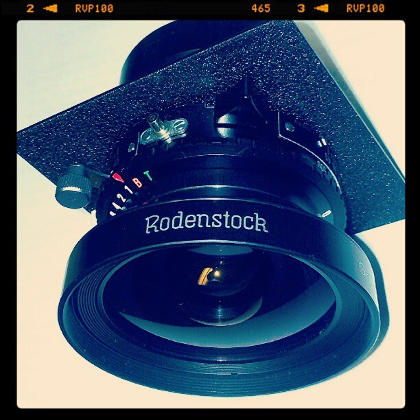 My new glass. Super wide angle Rodenstock 75mm 4x5 lens. #filmisnotdead (Taken with Instagram)