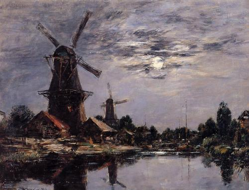 70galeri:  Dutch Windmills ~ 1884 | Eugène Boudin