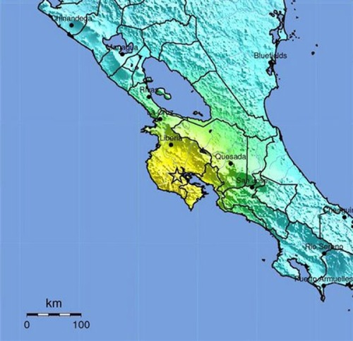 USGS: Major earthquake hits Costa Rica, tsunami warning issued (Photo: United States Geological Survey) Updated at 12:17 p.m. ET: A major earthquake hit northwestern Costa Rica on Wednesday, the U.S. Geological Survey said, but there were no immediate reports of casualties. The quake — initially given a magnitude of 7.9 but then revised to 7.6 — struck at 10:42 a.m. ET at a depth of about 25 miles and about seven miles southeast of Nicoya, a town of some 15,000 people on a coastal area on the Pacific about 90 miles from the capital San Jose. Read the complete story.