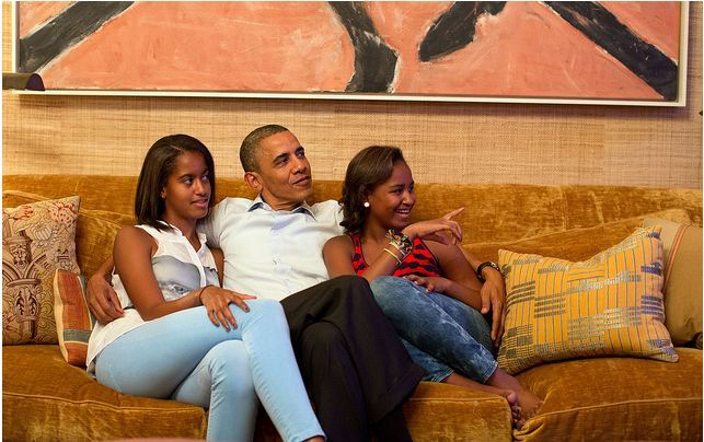 Bag's Take-Away:  Interesting that the rest of the Obama family watched Michelle's convention speech in The Treaty Room. As we wrote about the speech in our post today, Michelle Obama with the Sound Off, her mission was nothing short of updating the American people on the Obama's 2008 contract of hope with the goal of reengagement. By the way, here's an earlier Bag post on the painting above the Obamas' heads. via The White House Flickr Feed (credit: Pete Souza/Official White House Photo caption:  President Barack Obama and his daughters, Malia, left, and Sasha, watch on television as First Lady Michelle Obama begins her speech at the Democratic National Convention, in the Treaty Room of the White House, Tuesday night, Sept. 4, 2012.) Visit BagNewsNotes: Today's Media Images Analyzed ————— Topping LIFE.com's 2011 Best Photo Blogs — also follow us on Twitter and Facebook.