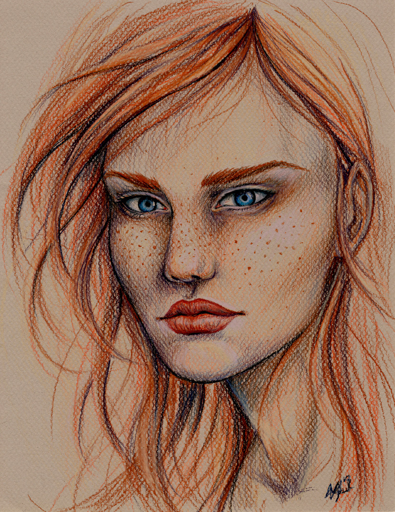 """She"" Colored pencil on textured brown paper. 2012 —-  So I bought a little bunch of Prismacolor colored pencils to try out. I've hated them for years (blame middle school), but I suddenly got the urge to try them again after gaping for awhile at the works of Marco Mazzoni and Bec Winnel. The verdict: I love them! Surprisingly blendable, and the colors are great."