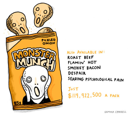 Explanation for non-Brits : (Monster Munch is a British brand of crisps)
