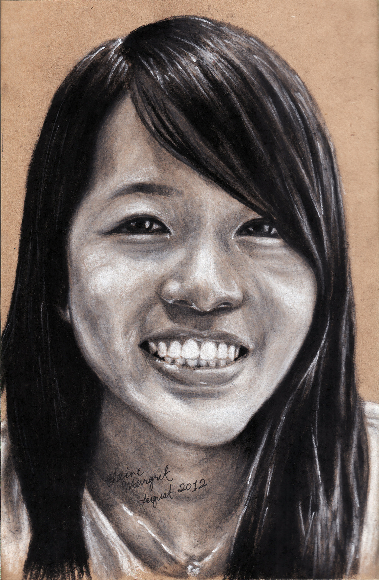 August 2012Portrait of a friend for her birthday!210mm x 148mm (A5)Soft Pastels on brown paper