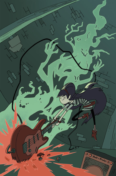 "adventuretime:  'Adventure Time: Marceline and the Scream Queens' #1 Gets a Badass Baltimore Comic-Con Variant If you're heading to Comic-Con in Baltimore this weekend, get your sister Sandy and your little brother Ray and swing by BOOM! Studios' booth, #2507, and pick up this exclusive edition of Mareceline and the Scream Queens #1 with ""cover art by regular ADVENTURE TIME creative team and guests of the show Shelli Paroline and Braden Lamb."" The cover's cool, and the issue's guts are pretty good, too.  Thanks to a newfound interest in music, Princess Bubblegum joins Marceline's paranormal rock band for a tour across the land of Ooo! But when they're threatened by everything from scenesters to beasts born of self-doubt, can they make it to the RADDEST GIG EVER in time?! Written and drawn by acclaimed cartoonist Meredith Gran (OCTOPUS PIE) and featuring a back-up story from Jen Wang (KOKO BE GOOD)!  To Baltimore!  Marci's outfit was inspired by Karen O. Chop chop chop chop etc. Hope to see you in Baltimore!"