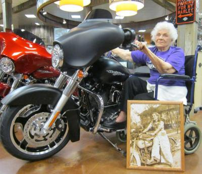 "I found this photo with the caption- ""Nearly 100 and still wants to ride."" I have no idea where I found it or who it is, despite attempts at research. Either way- awesome lady.  If anyone has info, please let me know."