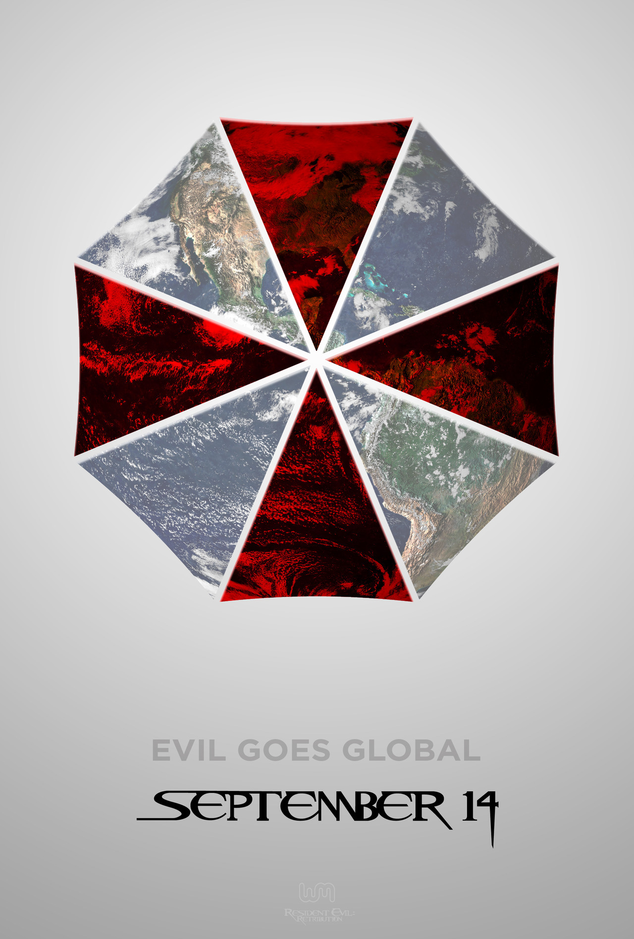 "residentevilmovie:  ""Evil Goes Global"" Resident Evil: Retribution. September 14, 2012.  earth image credit: http://earthobservatory.nasa.gov/Newsroom/NewImages/images.php3?img_id=4231  Gotta get these on Blu-ray…"