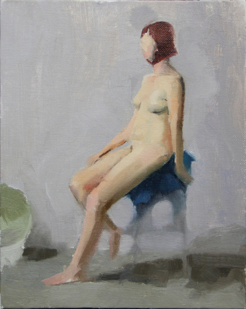 "Seated nude- Jessica2 Oil on Canvas Panel, 8"" x 10"". 2012 (by jasonumfress)"