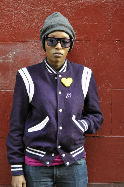 Back to School in a vintage purple varsity jacket and purple shades…New York City, NY (via William Yan)