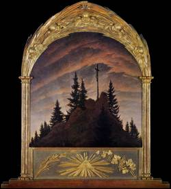 "Cross in the Mountains (Tetschen Altar), 1808Friedrich completed the first of his major paintings in 1807, at the age of 34. The Cross in the Mountains, today known as the Tetschen Altar (Galerie Neue Meister, Dresden). The altar panel depicts the crucified Christ in profile at the top of a mountain, alone and surrounded by nature. The cross reaches the highest point in the pictorial plane but is presented from an oblique and a distant viewpoint, unusual for a crucifixion scene in Western art. Nature dominates the scene and for the first time in Christian art, an altarpiece showcases a landscape.  The work was first exhibited on Christmas Day, 1808. Although it was generally coldly received, it was nevertheless Friedrich's first painting to receive wide publicity. The artist's friends publicly defended the work, while art critic Basilius von Ramdohr published a lengthy article rejecting Friedrich's use of landscape in such a context; he wrote that it would be ""a veritable presumption, if landscape painting were to sneak into the church and creep onto the altar"". Ramdohr fundamentally challenged the concept that pure landscape painting could convey explicit meaning. Friedrich responded with a programme describing his intentions. In his 1809 commentary on the painting, he compared the rays of the evening sun to the light of the Holy Father. The sinking of the sun suggests that the era when God revealed himself directly to man has passed. This statement marked the only time Friedrich recorded a detailed interpretation of his own work.[http://en.wikipedia.org/wiki/Caspar_David_Friedrich]If nothing more were known of the painter, this painting, the so-called 'Tetschen Altar' would command attention for its boldness in creating a devotional image from the materials of landscape. It is both the first masterpiece of one of the greatest Romantic landscape painters and a manifesto for the art of landscape itself. It exemplifies two important achievements of early Romanticism: the elevation of nature to a kind of religion, and of landscape to equal or surpass history painting.The 34-year-old painter was inordinately proud of the work. It was the largest he had painted so far, in a medium in which he was still far from proficient, and he had designed the frame himself - a Gothic arch with the eye of God and the wheat and vine of the Eucharist. He had intended the picture as a gift to the Swedish king Adolphus IV, in recognition of his resistance to Napoleon, but was persuaded instead to sell it to Count von Thun-Hohenstein for his castle in Tetschen, Bohemia. With its splendid frame it was transformed from political gesture to religious image, but still it remained a landscape. Nature itself was imbued with religious feeling.The painting's carved frame is based on a concept by Friedrich, but was executed by one of his friends, the sculptor Gottlieb Christian Kühn.[Web Gallery of Art]"