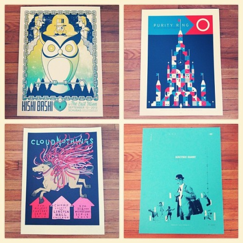 Posters for the upcoming Kishi Bashi, Purity Ring, Cloud Nothings and Electric Guest shows on sale soon! Tickets still available for Cloud Nothings and Electric Guest! (Taken with Instagram)