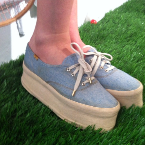 Platform chambray tennis shoes at Lauren Moffatt Photographed by Naomi Nevitt