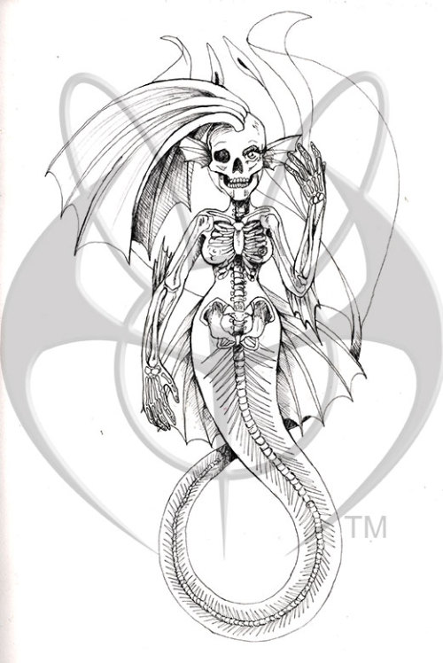 Mermaid Skeleton pen and ink