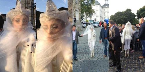 Lady gaga wearing a white fox today in Cologne, Germany