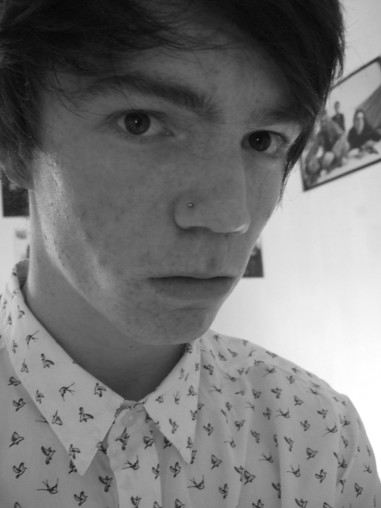 new shirt and nose piercing :D