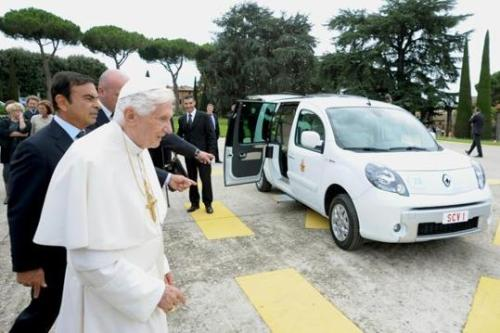"Pope Benedict XVI is presented with an electric car in Castel Gandolfo, in the outskirts of Rome, Wednesday, Sept. 5, 2012. The 85-year-old pontiff was presented with his first electric car on Wednesday, a customized white Renault Kangoo for jaunts around the gardens of the papal summer residence at Castel Gandolfo. Benedict has been dubbed the ""green pope"" for his environmental concerns, which have been a hallmark of his papacy. Earlier this year, Italian automaker NWG donated one to the pope, but for the Vatican press office to use. Renault also has given a blue version of the white Kangoo to the Vatican gendarmes. (AP Photo/L'Osservatore Romano) More here."