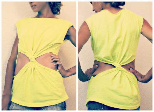 DIY Twisted Cut Out Tee Shirt Tutorial from Trash to Couture here. Really easy to follow tutorial, but if you are a more visual learner I posted a video tutorial from Boat People here for a cut out twisted dress with long sleeves.