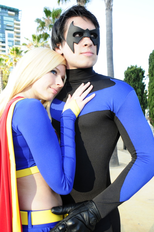 Nightwing and Supergirl take a moment off together from saving the world Nightwing by Greg Mills, Supergirl by Phoenix of Birds of 'Play, photo by Kevin Green