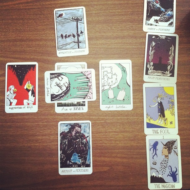 Got my cards from Tarot Collective!!! Not a terrible spread to deflower the deck.  (Taken with Instagram)