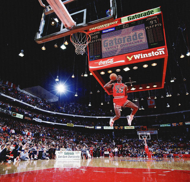 siphotos:  Michael Jordan puts on a display during the 1988 Slam Dunk Contest.