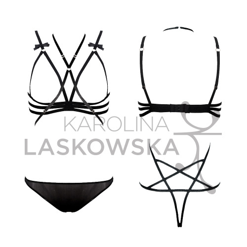 The Elzbieta set by Karolina Laskowska Elzbieta pentagram thong playsuit Bring some black magic into the boudoir with this stunning playsuit.  The thong back features shiny textured elastic straps arranged in a pentagram shape.  Straps wrap around the body seductively, finishing in a halterneck.  The thong is made of a delightfully soft and slightly sheer black mesh.  Featuring gold rings and sliders, this playsuit is adjustable to fit most body shapes.  It comes with instructions so that you don't get tangled up in all of those straps! Zuzanna bra Show your wild side with this gorgeously provocative frame bra. Featuring unusual underband strap detailing, textured shiny elastic, gold plated rings and sliders and finished with satin bows.