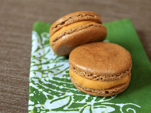 gastrogirl:  chocolate macarons with salted caramel filling.