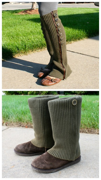 DIY No Sew Leg Warmers and Sweater Boots Tutorials from La Vie en Rose. If you live in a country or part of the US that gets snow you may appreciate this (I appreciate the sweater boots because sometimes you can't get salt stains out of your boots). Top Photo: Recycled Sweater Leg Warmers Tutorial here, Bottom Photo: Recycled Sweater Boots Tutorial here. *These actually look a lot like the Steampunk Sweater Spats I posted a long time ago from Urban Threads here.