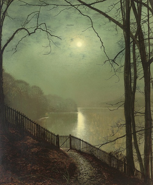 fleurdulys: 1872 John Atkinson Grimshaw (British, 1836-1893) ~ Moonlight on the Lake, Roundhay Park, Leeds Petit: g'night, good people … sweetest dreams ♥